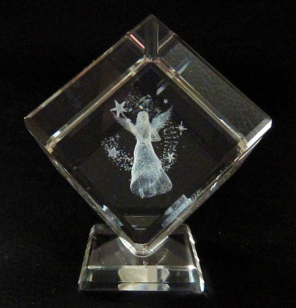 Fairy with Wand and Stars Laser Picture in Square Crystal Prism on a Stand