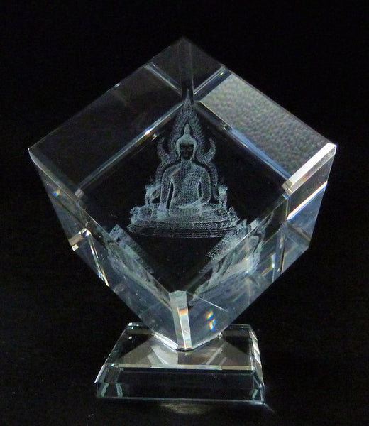 Thai Buddha Laser picture in Square Crystal Prism on Stand