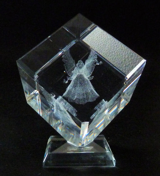 Angel with 2 butterflies Laser Picture in Square Crystal