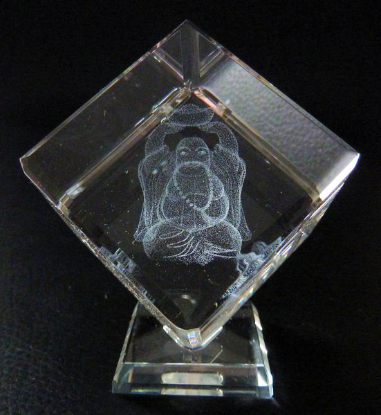 Laughing Buddha Laser Picture in Square Crystal Prism on Stand