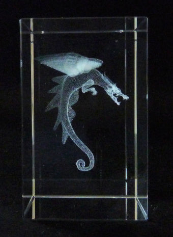 Dragon Laser Picture in Rectangle Crystal Prism