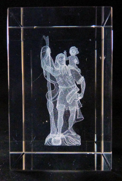 St Christopher Holding a Child in Rectangle Crystal Prism