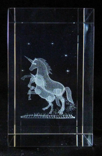 Mother and Baby Unicorn in Rectangle Crystal Prism