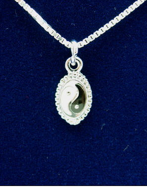 Yin Yang Pendant with Rhodium Plated Chain