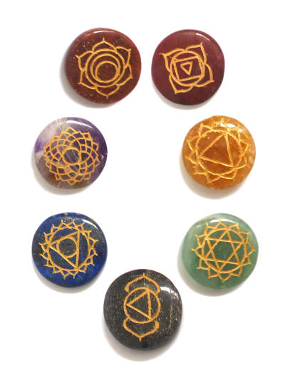 Engraved Chakra Therapy Disc Set