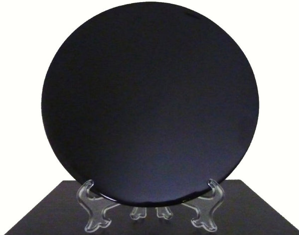"8"" Black Obsidian Round Scrying Mirror. Includes Stand and Downloadable eBook."