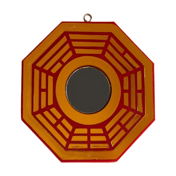 Red and Gold Flat Bagua Mirror