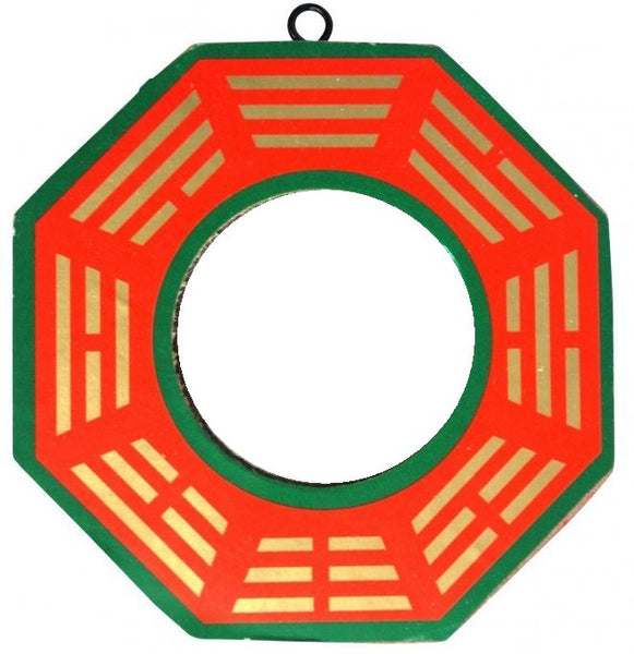 Red Green and Gold Flat Bagua Mirror