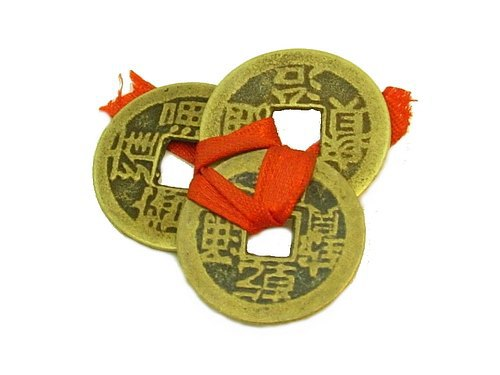 Set of 3 I-Ching Coins Tied with Red Ribbon