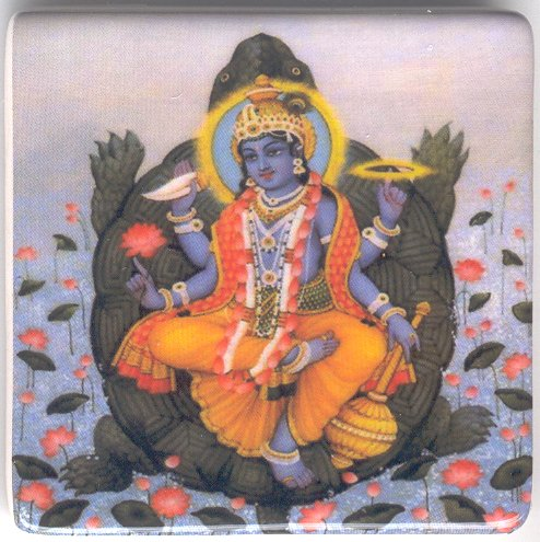 Vishnu on the Turtle Ceramic Fridge Magnet
