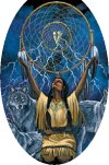 American Indian Holding a Dream Catcher
