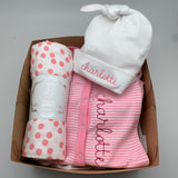 Welcome Baby Girl Box - Hat, snap outfit, swaddle blanket