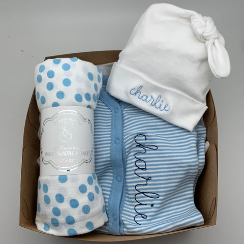 Welcome Baby Boy Box - Hat, snap outfit, swaddle blanket