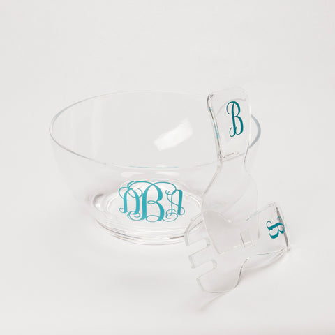 Acrylic Salad Bowl with Tongs