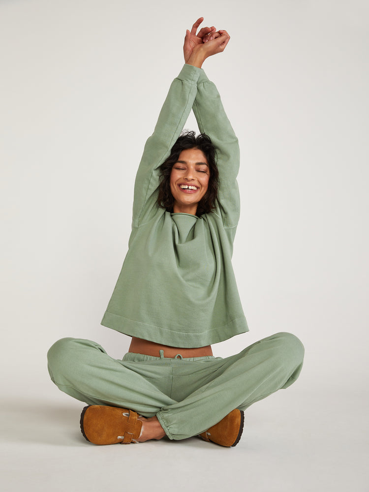 Awww Organic Cotton Sweats Super Soft Jogger French Terry Moss Soft Green Comfs Sweatshirt