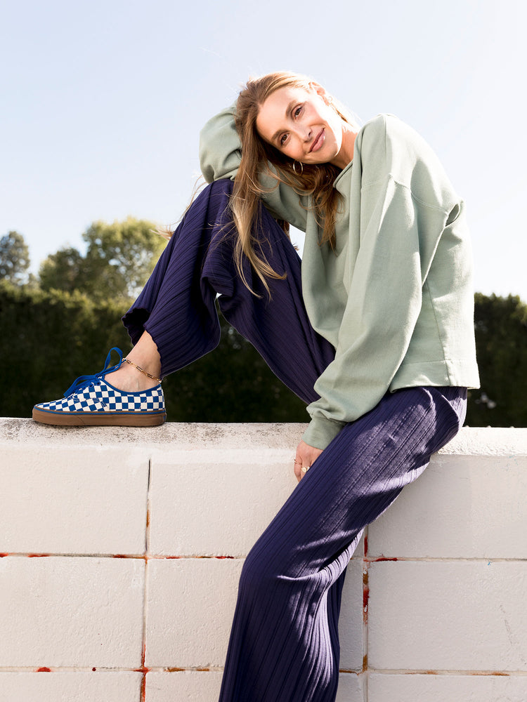Whitney Port COZeCO Comfs Organic Cotton Sweatshirt Super Soft French Terry Moss Soft Green