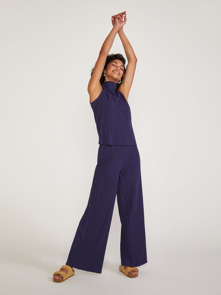 Load image into Gallery viewer, Cazh Stretch Organic Cotton Rib Pants Crown Dark Blue