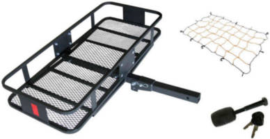 Deluxe Fold-Up Cargo Carrier Kit with Cargo Webbing and Hitch Lock