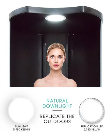 Natural outdoor light with Norvell Podium tanning overspray extraction booth