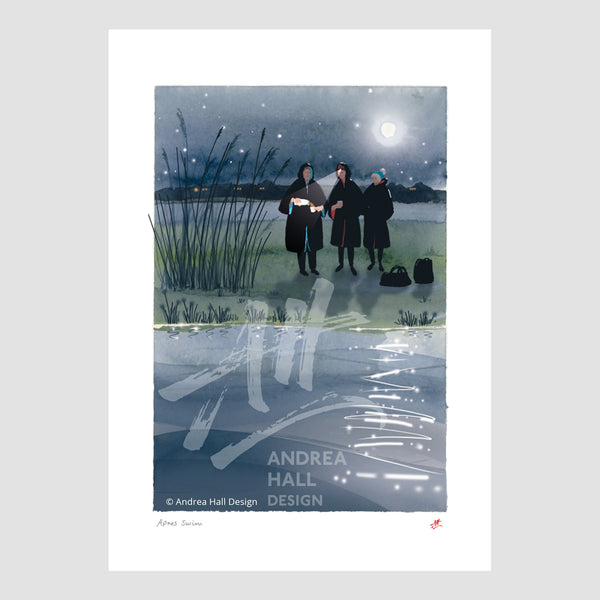 'Apres Swim'. Wild swimming signed A4 print. FREE delivery on orders over £50