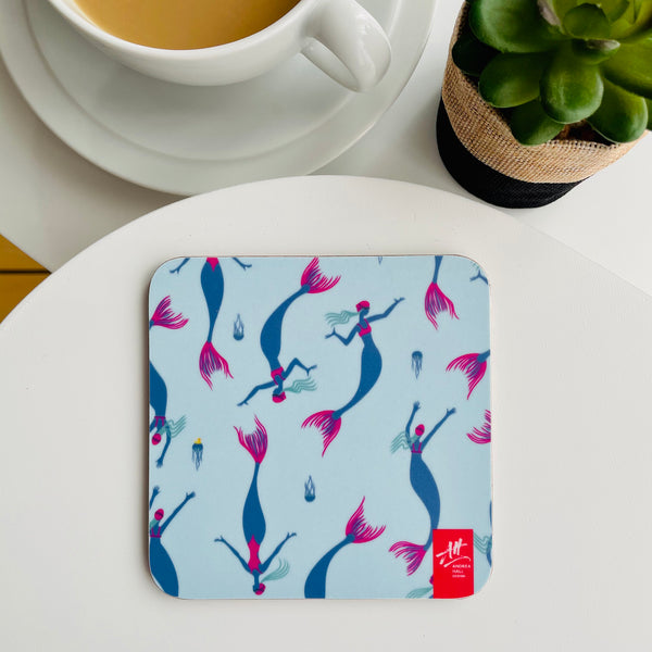 Set of four Wild Swimming Mermaid coasters. Great gift for swimmers