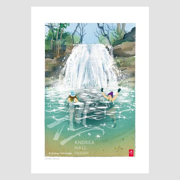 Wild Swimming 'Janet's Jacuzzi', signed A4 Print. FREE delivery on orders over £50!