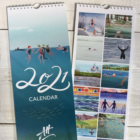 2021 Wild Swimming calendar. Includes 12 designs by Andrea Hall