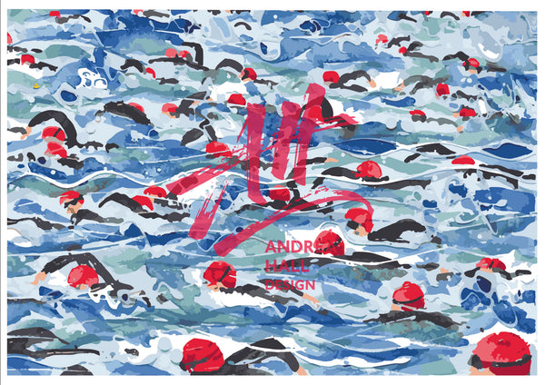 Open Water Swimming colouring instant download. No2: Mass Start.