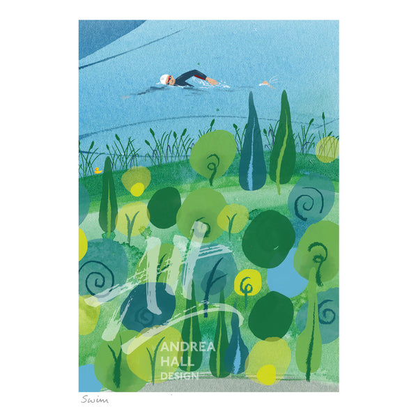 Open water swimming greetings card.Buy any 4 or more cards and get 25% off!  FREE delivery on orders over £30!