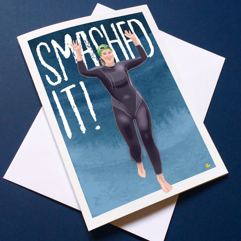 Open Water Swimming greetings card. SMASHED IT! Congratulations card. Buy any 4 or more cards and get 25% off!  FREE delivery on orders over £50!