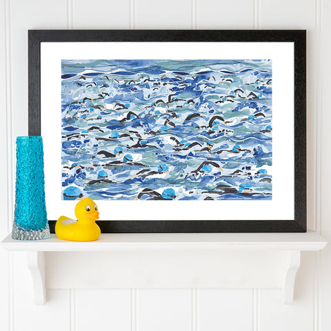 Open Water Swimming print. Mass Start Blue Wave. FREE delivery on orders over £30!