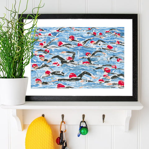 Open Water Swimming print. Mass Start Red Wave. Limited edition. FREE delivery
