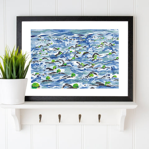 Open Water Swimming print. Mass Start Green Wave. Limited edition. FREE delivery.