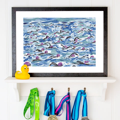 Open Water Swimming print. Mass Start Purple Wave. FREE delivery on orders over £30!