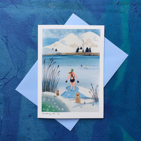 Wild swimming greetings card 'Breaking The ice'. Buy any 4 or more cards and get 25% off!  FREE delivery on orders over £30!