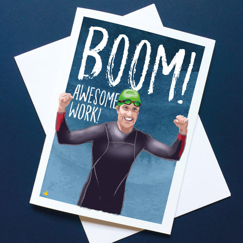 BOOM! AWESOME WORK! Congratulations card for swimmers. Male athlete. Buy any 4 or more cards and get 25% off!  FREE delivery on orders over £50!