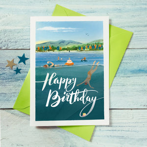Outdoor wild swimming birthday card. Buy any 4 or more cards and get 25% off!  FREE delivery on orders over £50!
