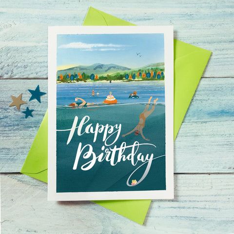 Outdoor wild swimming birthday card. Buy any 4 or more cards and get 25% off!  FREE delivery on orders over £30!