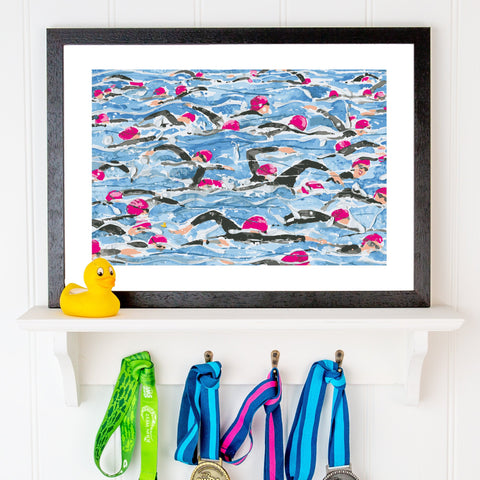 Open Water Swimming print. Mass Start Pink Wave. Limited edition. FREE delivery on orders over £30!