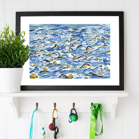 Open Water Swimming print. Mass Start Gold Wave. FREE delivery on orders over £30!