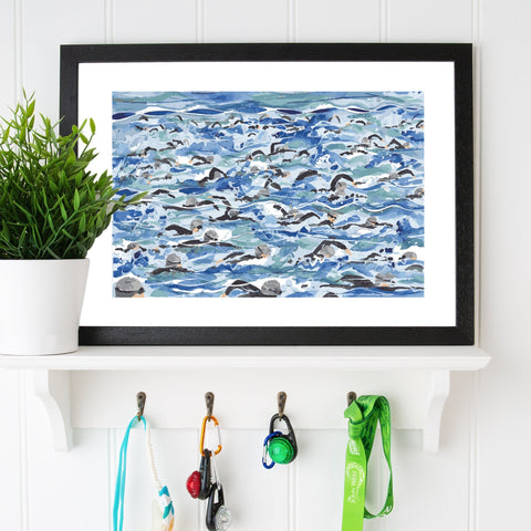 Open Water Swimming print. Mass Start Silver Wave. FREE delivery