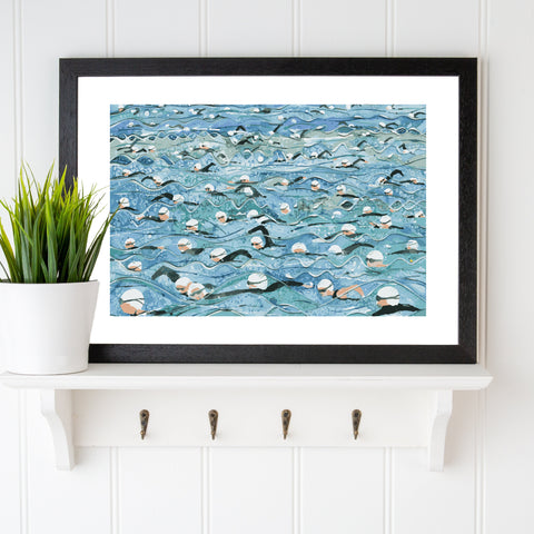 Open water swimming print. Mass Start White Wave. Limited edition. FREE delivery on orders over £30!