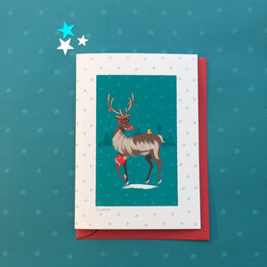 Swimming Rudolph. Christmas card for swimmers. Buy any 4 or more cards and get 25% off!  FREE delivery on orders over £50!