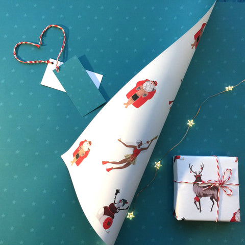 Luxury Christmas gift wrap and tags for swimmers. FREE delivery on orders over £30!