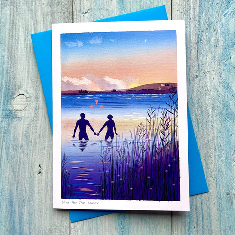 Wild swimming greetings card 'Love For The water'. Buy any 4 or more cards and get 25% off!  FREE delivery on orders over £30!