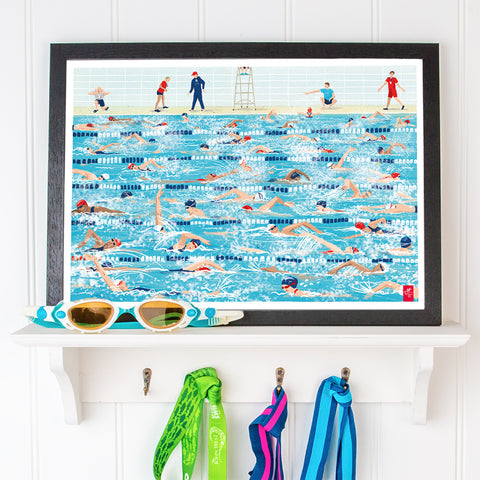 Swimming pool A3 print. 'Gala Chaos'. FREE delivery on orders over £50!