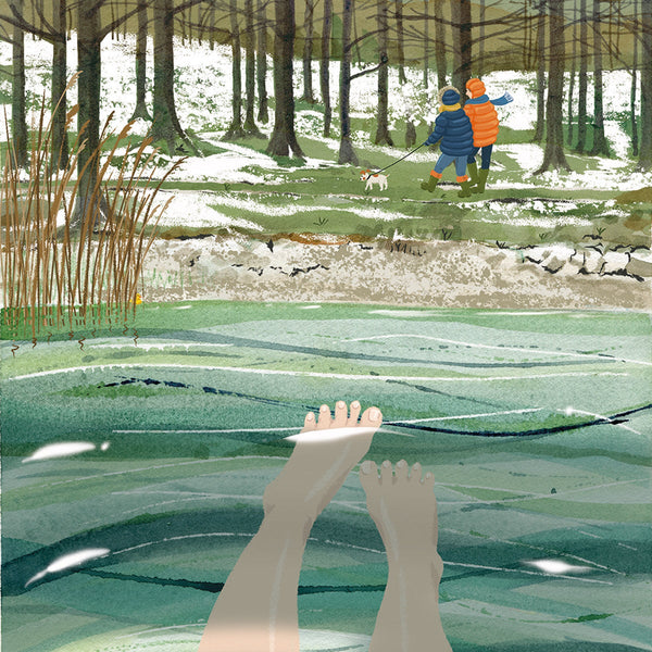 Joyful Wild Swimming signed print. Warmer In Than Out.