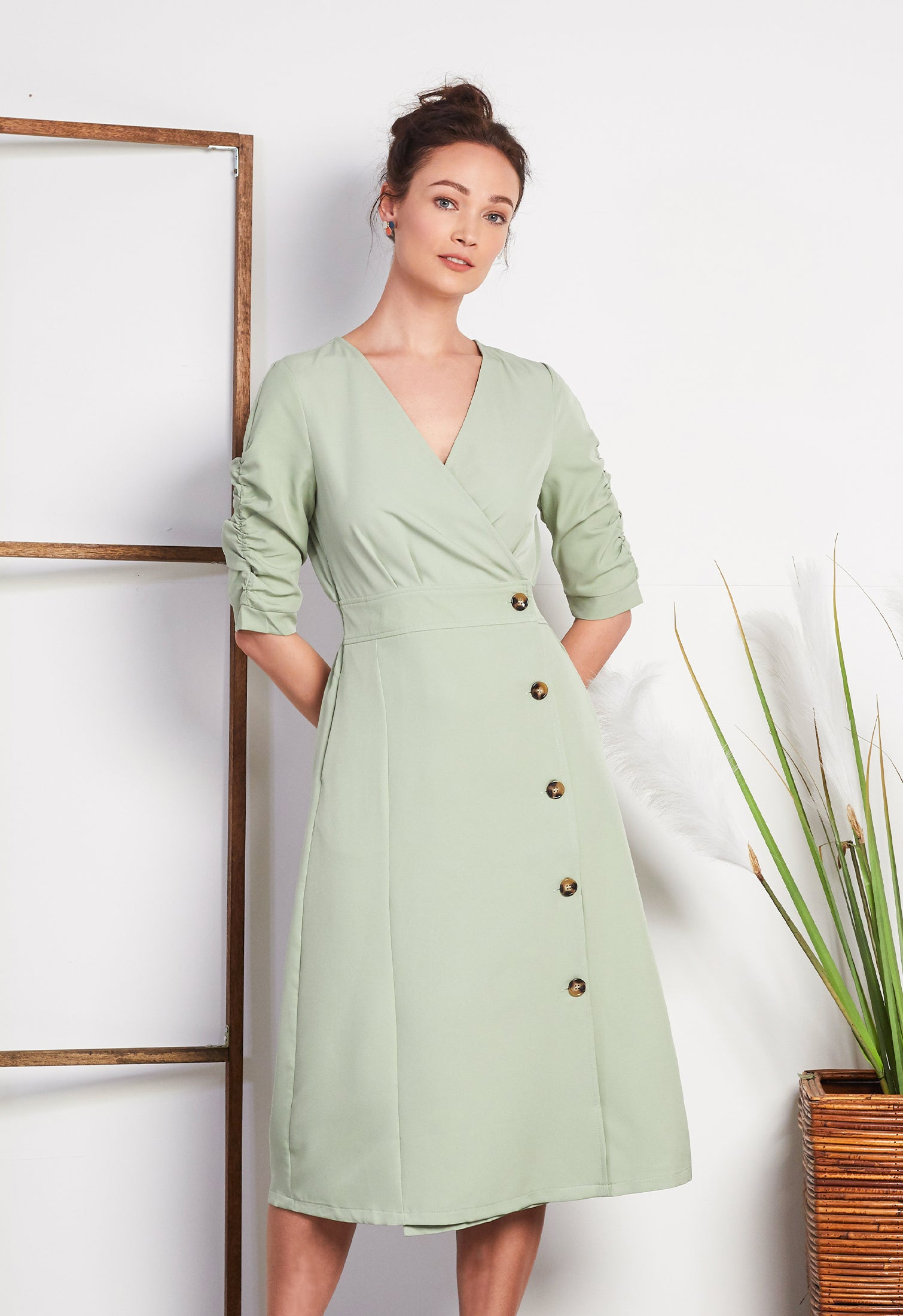 Side button Cotton Dress