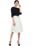 Belted Box Pleated Skirt