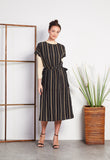 Shadow Stripe Side-tie Dress